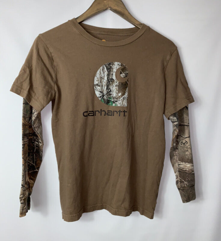 Carhartt Youth Boys Medium 10/12 Brown Camo Longsleeve