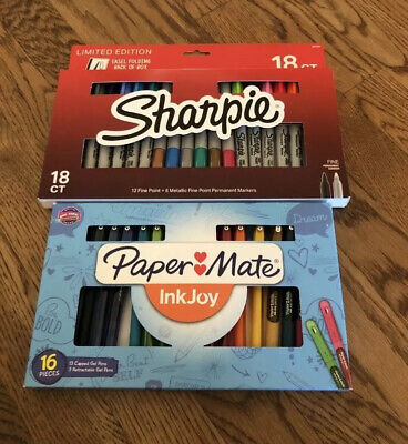 Papermate Inkjoy Gel Pens 16 Ct. Brand New. Limited Edition Sharpie 18 Ct.