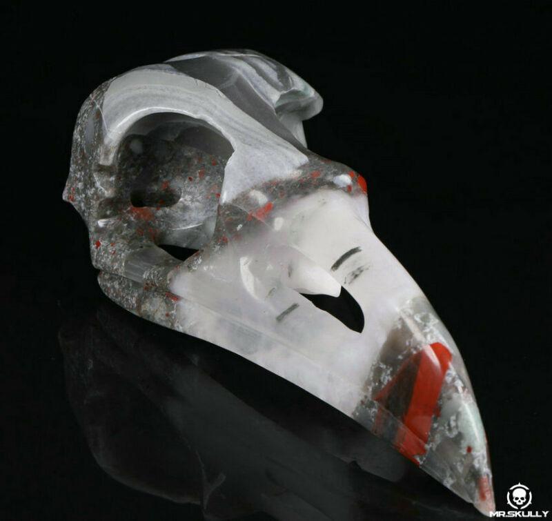 "Huge 4.9"" African Bloodstone Carved Raven Skull, Realistic, Crystal Healing"