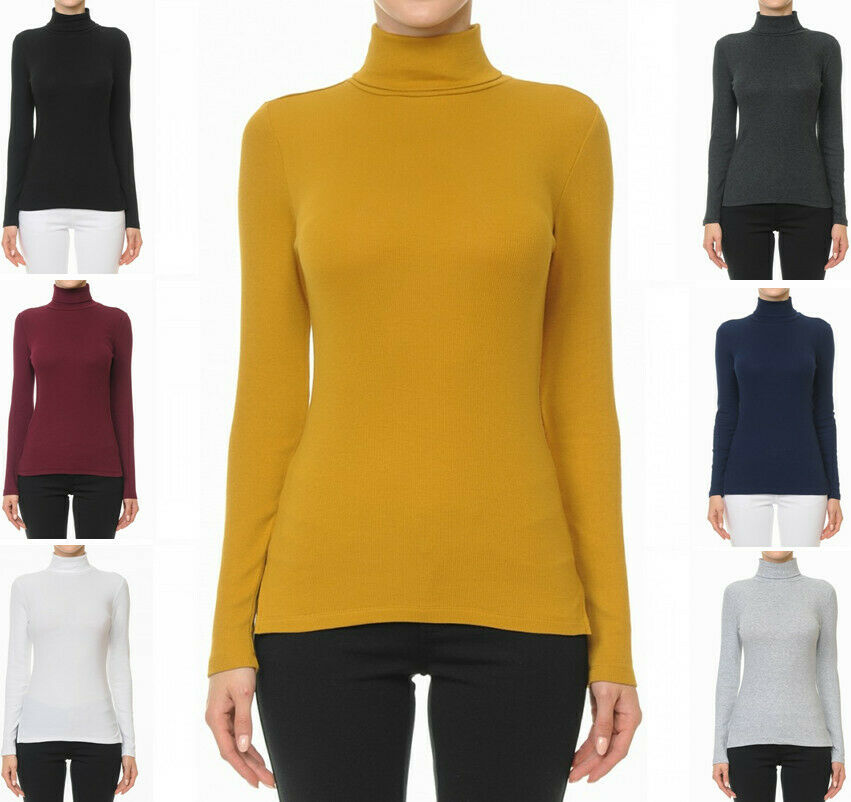 Women's Ribbed Turtle Neck Mock Neck Long Sleeve Cotton Jersey Top Clothing, Shoes & Accessories