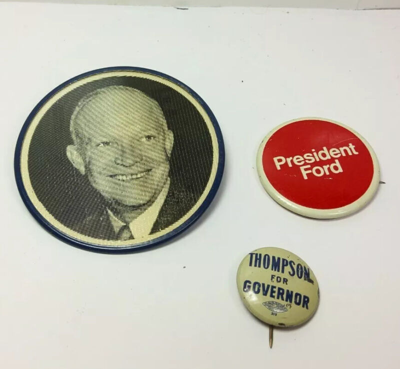 3 Campaign pins buttons political presidential, Ford, Eisenhower