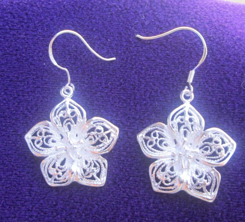 Pair Sterling Silver Flower Earrings