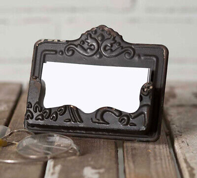 Distressed Black Chippy Business Card Holder - Embossed Vintage Style Shabby