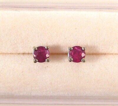 Ruby Pigeon Blood Red Stud Earrings NEW 14K WG Genuine .75ct Round Genuine Boxed