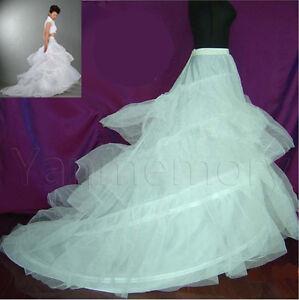 A Line White 2 Hoop Bridal Wedding Dress Petticoat Crinoline With Chapel Train