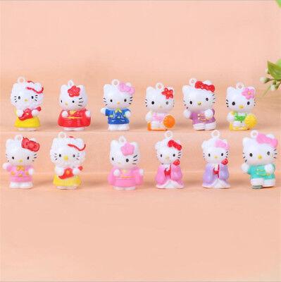 12pcs Hello Kitty Anime Figures Cute Mini Figurine Toy Kids Display Set 2CM