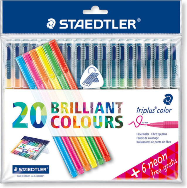 STAEDTLER TRIPLUS COLOR FIBRE TIP-1.0MM-20 BRILLIANT COLOURS-6 FREE NEON PENS