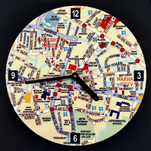 Judaica Wall Clock Center of Jeruslaem English Street Names Artori Design