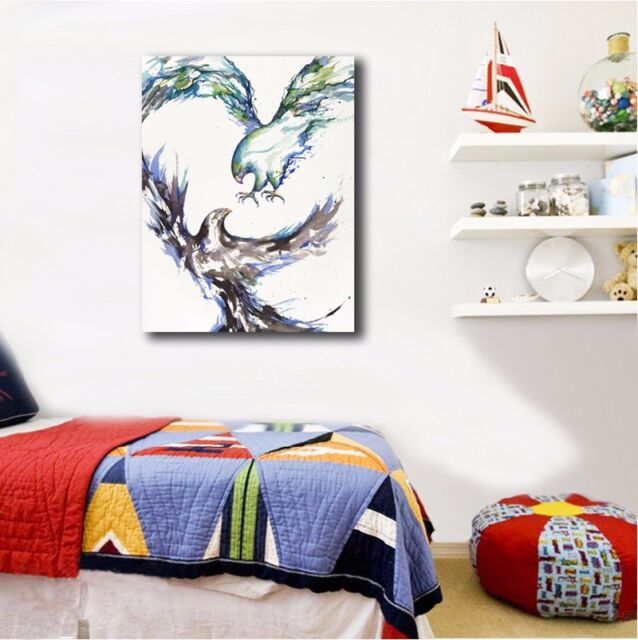 30×40×3cm Watercolor Colorful Hawks Framed Canvas Prints Wall Art Home Decor