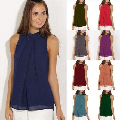 Womens Summer chiffon Vest Top Sleeveless Blouse Casual Solid Tank Tops T-Shirt Sleeveless Womens Top