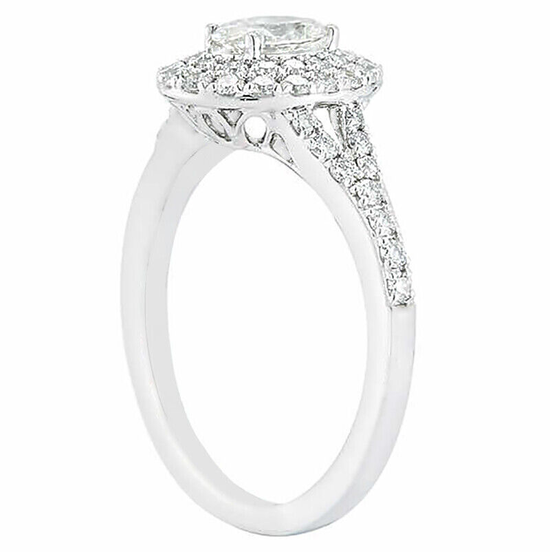 GIA Certified Diamond Engagement Halo Ring 2.42 CTW Oval & Round 18k White Gold 2
