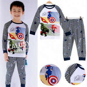 le avengers pyjama enfants costume b b gar on coton ensemble 1 7y ebay. Black Bedroom Furniture Sets. Home Design Ideas