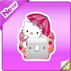 Sur hello kitty light switch wall stickers nursery baby girls bedroom