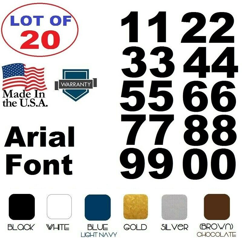 Home Decoration - Lot of 20 White,Black Vinyl Street Address,Mailbox Number Decal Stickers ARIAL