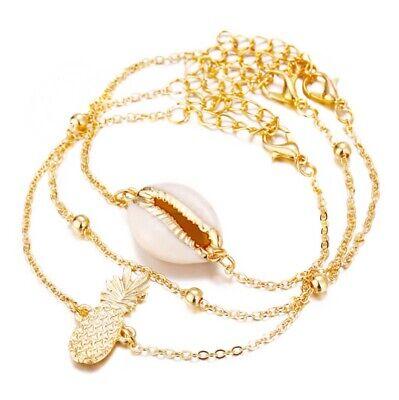 (Women Punk Shell Bracelet New Bangle Fashion Chain Pineapple Bracelets Gift 3PCS)