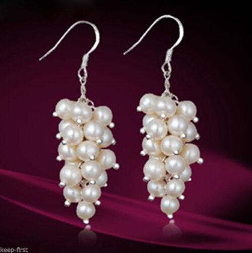 Genuine White Cultured Freshwater Pearl Cluster Dangle Sterling  Earrings