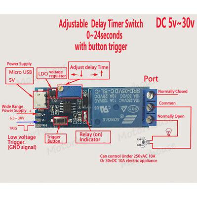 (DC 5V 12V 24V Adjustable Timing Trigger Delay Timer Time Switch Relay Module Car)