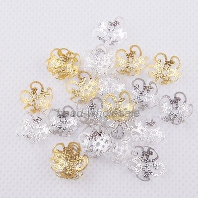 Five Flower (200 pcs Gold/siver/Black Plated Five Flower Metal Bead Caps 10mm Findings)