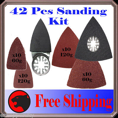 42 Pc Sanding Kit Oscillating Multi Tool Sand Pad For Milwaukee Fein Multimaster