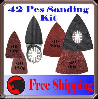 42 Pc Sanding Kit Oscillating Multi Tool Sand Pad For Milwaukee Fein Multimaster