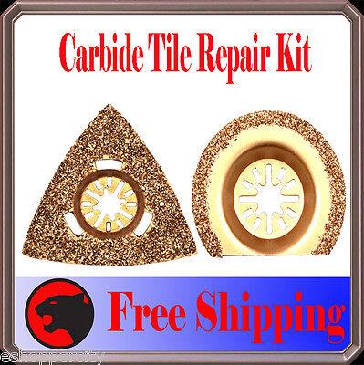 2 Pc Carbide Grout Oscillating Multi Tool Saw Blade For Dremel Multi-max Ridgid