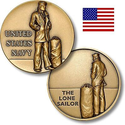 U. S. Navy The Lone Sailor Challenge Coin 1 3/4 inch Bronze Antique NEW ITEM on Rummage