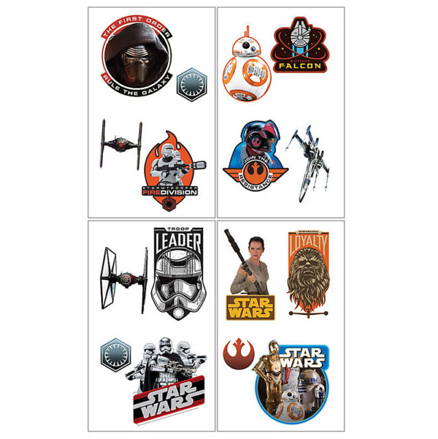 Star Wars Party Supplies ( 8 SECTIONS CUT INTO 16 TATTOOS ) Episode VII