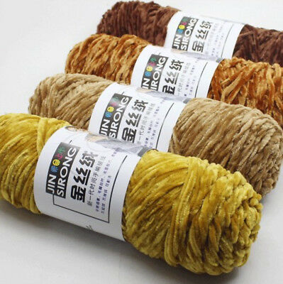 DIY Chenille Wool Yarn Gold Velvet Polyester Yarn For Knitting 24 colors