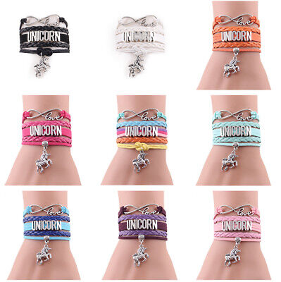 Infinity love Unicorn Bracelet horse Charm leather wrap bracelets & bangles