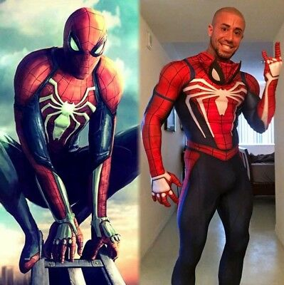 Cosplay Spider-man PS4 Game Costumes Party Fancy Dress Halloween For Adult Size (Games For Adult Halloween Party)