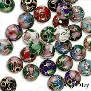 Beautiful-Mix-of-18-Cloisonne-Round-Beads-Pick-your-size-6-8-10-12mm
