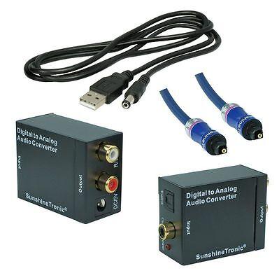 Digital zu Analog Audio Konverter + 2,5m Toslink(BlueLine) + USB-DC Kabel 2 Line Analog