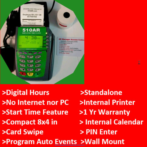 BEST SELLER Digital Employee Time Clock Punch/swipe, thermal printer, Payroll