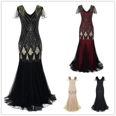Deluxe Damen Gatsby Kleid 1920s Jahre Flapper Lang Paillette Retro Party Abend
