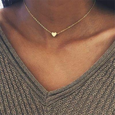Halskette mit Süßem Herz ❤️ Damen Kette Gold Blogger kurz Schmuck Neu P190