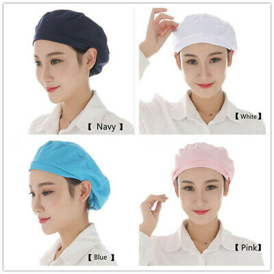 1PC Blue White Navy Pink Textile Women Cap Dust Cap Kitchen Chef Hat