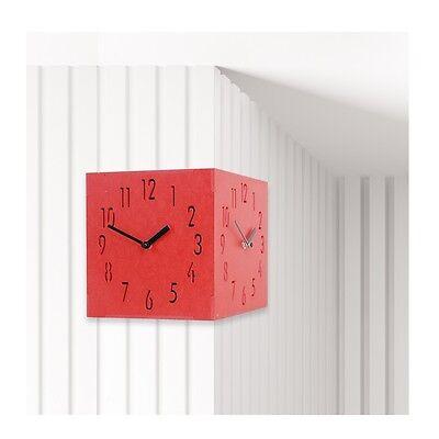 Red Corner Wooden Wall Clock Creative Clock Home Decor Modern Art Interior Gift