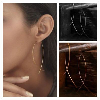 - 1 Pairs Women Punk Geometric Curved Fish Shape Wire Hook Threader Drop Earrings