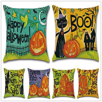 Throw Pillow Case Cushion Cover Colorful Cartoon Pumpkin Pattern Linen Halloween - Halloween Sheets Coloring