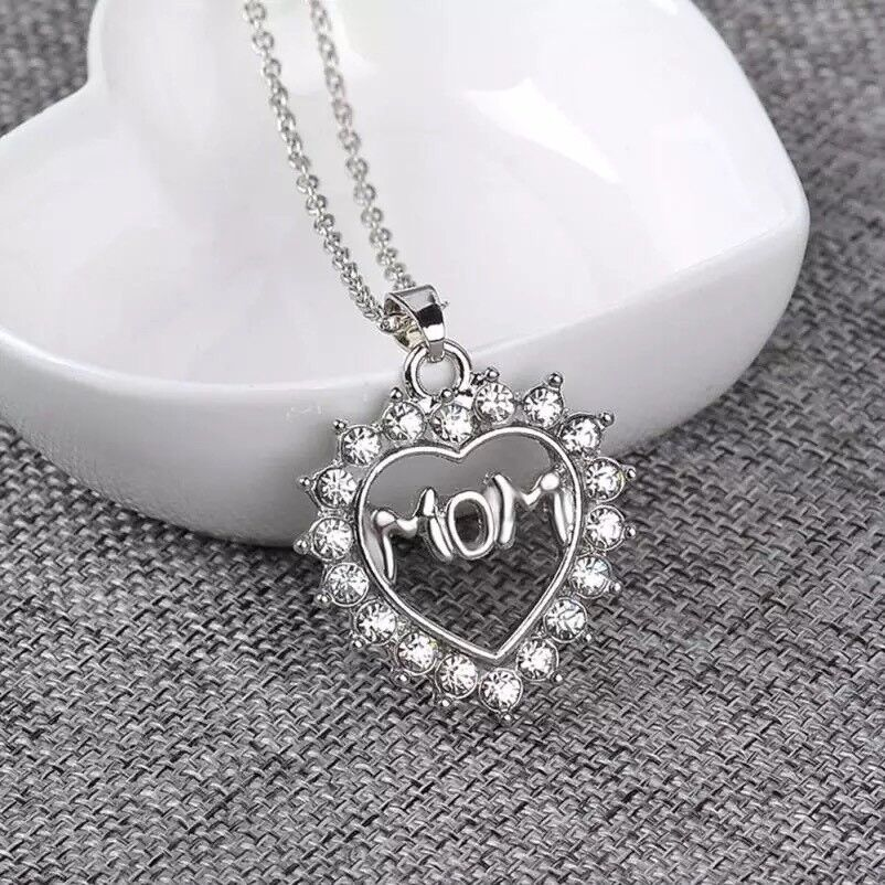 925 Silver Plated MOM Mother Heart Cubic CZ Crystal Pendant Necklace 18″ N81 Fashion Jewelry