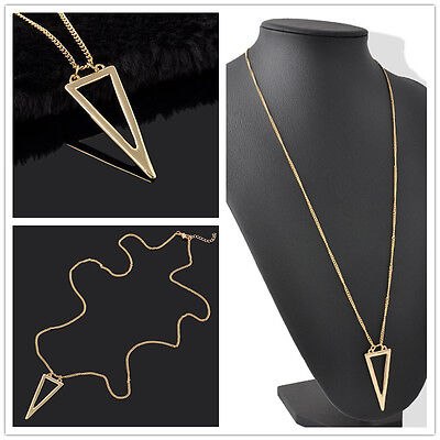 European Triangle Shaped Pendant Single Layer Long Sweater Chain Gold Necklace