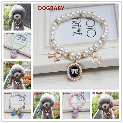 Cute Dog Cat Pet Puppy Pearl Beads Necklace Collar Necklet Charm Pendant Jewelry Beaded Dog Collar Charm