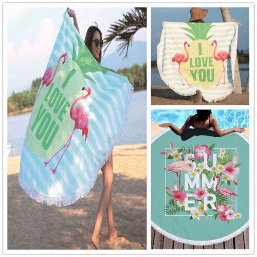 Flamingo Microfiber Round Beach Towel Rope With Tassel Beach