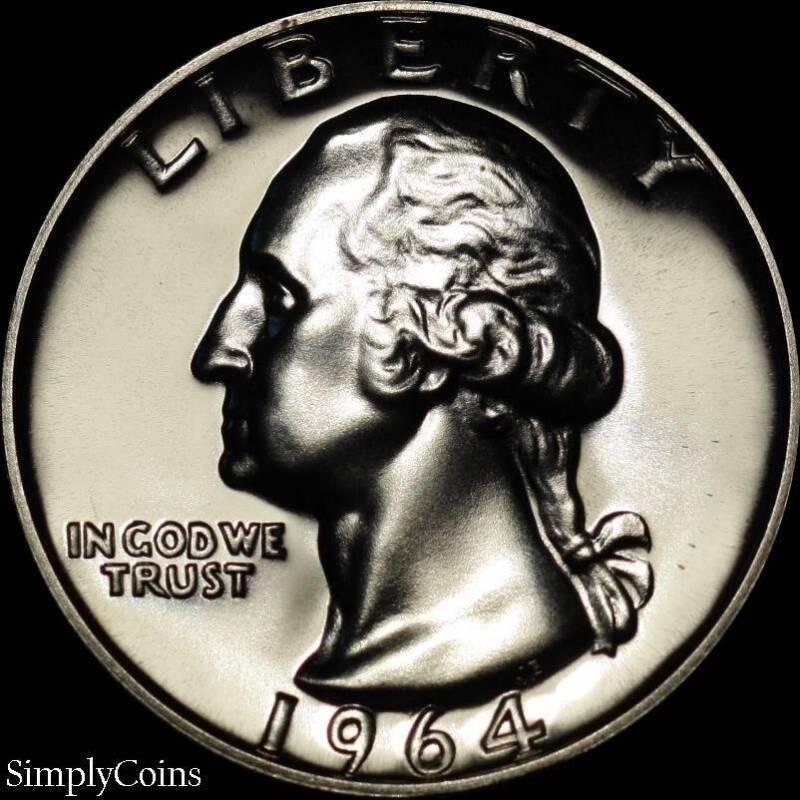 1964 Washington Quarter ~ GEM PROOF Uncirculated ~ 90% Silver US Coin