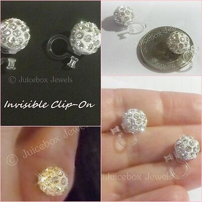 Invisible Clear Crystal Pave, Round Clip On Stud,10mm Non-Pierced Earrings V552