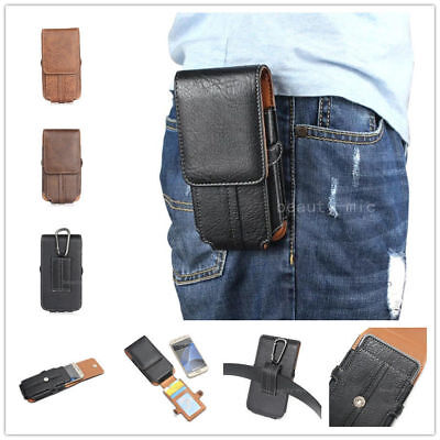 Mobile Phone Holster - Mobile Phone Glossy Leather Waist Hang Case Cover Belt Holster Clip Pouch Sleeve