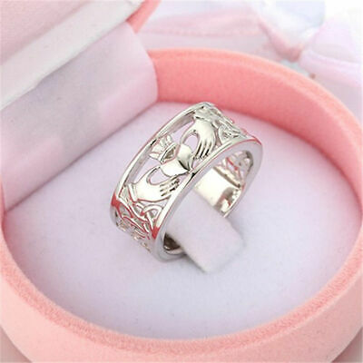 Irish Claddagh Celtic 925 Silver Care Heart Forever Wedding Bridal Ring Size6-10 ()