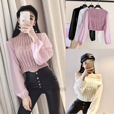 Sexy Fashion Womens Chiffon Puff Sleeve Casual Short Knit Shirt Blouse Crop Tops
