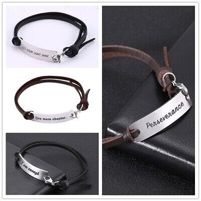 Inspirational Leather Bracelets (Inspirational Quote Adjustable Lettering Leather Stainless Steel Gift)