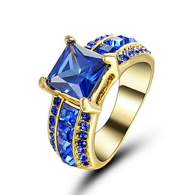 Noble Silver 10kt Yellow gold filled Ring Size 7 Sapphire Gemstone Jewelry Women ()